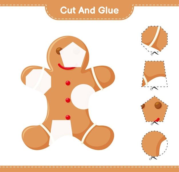 Corte e cole, corte partes do gingerbread man e cole-as. jogo educativo para crianças, planilha para impressão