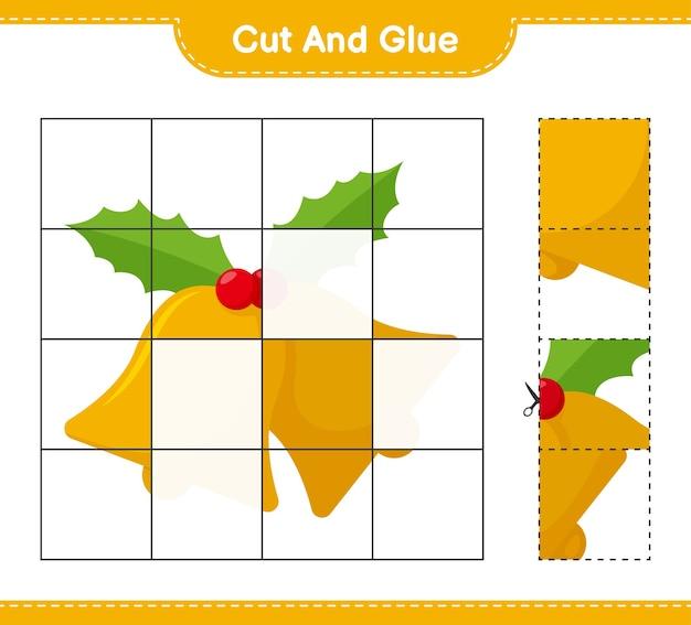 Corte e cole, corte partes do sino de natal e cole-as. jogo educativo para crianças, planilha para impressão