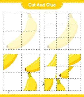 Corte e cole, corte pedaços de banana e cole-os. jogo educativo para crianças, planilha para impressão
