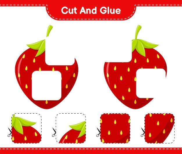 Corte e cole, corte pedaços de morango e cole-os. jogo educativo para crianças, planilha para impressão