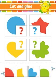 Corte e cole. defina cartões de memória flash. planilha de educação. página de atividade. círculo, estrela, coração, flor.