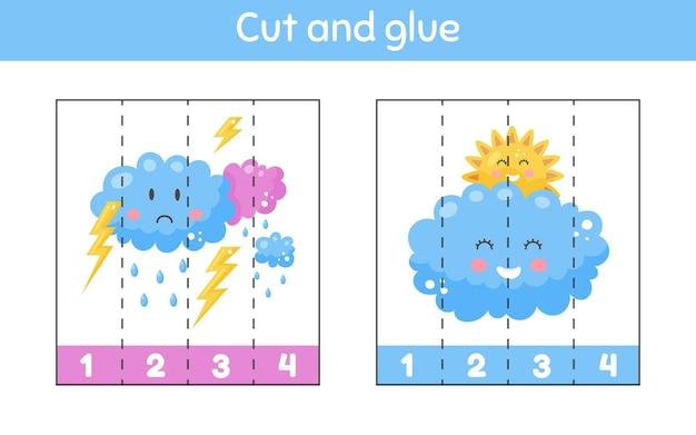 Corte e cole. números de aprendizagem. planilha para crianças do jardim de infância, pré-escola e idade escolar. tempo lindo. parcialmente nublado, trovoada.