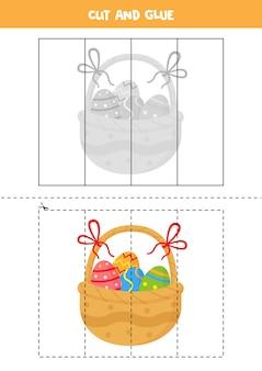 Corte e cole o jogo para crianças com a cesta de páscoa. prática de corte para pré-escolares.