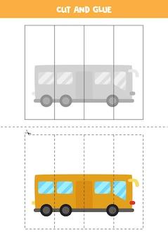 Corte e cole o jogo para crianças com ônibus de desenho animado. prática de corte para pré-escolares.