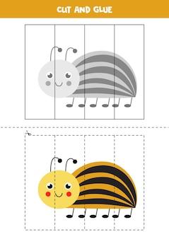 Corte e cole o jogo para crianças com um bug fofo do colorado. prática de corte para pré-escolares.