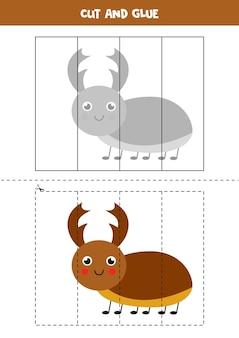 Corte e cole o jogo para crianças com um lindo besouro de veado. prática de corte para pré-escolares. Vetor Premium