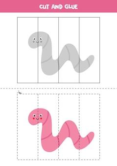 Corte e cole o jogo para crianças com um verme bonito. prática de corte para pré-escolares.
