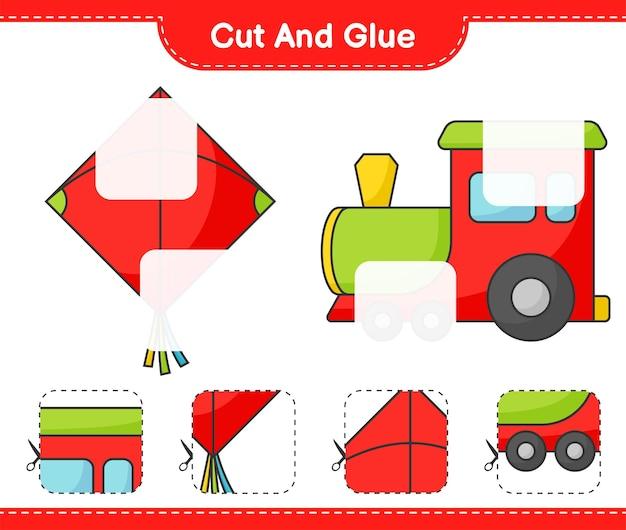 Corte e cole partes cortadas de kite e train e cole-as. jogo educativo para crianças