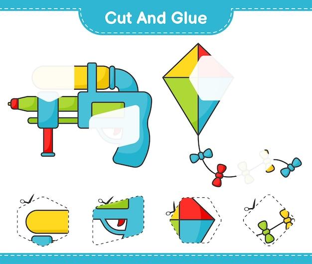 Corte e cole partes cortadas de kite e water gun e cole-as. jogo educativo para crianças