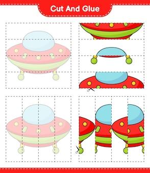 Corte e cole partes cortadas de ovnis e cole-as. planilha para impressão do jogo educativo infantil