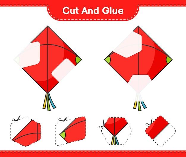 Corte e cole partes cortadas do kite e cole-as. planilha para impressão do jogo educativo infantil