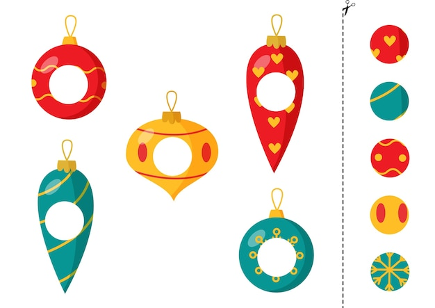 Corte e cole partes de bolas de natal coloridas