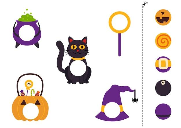 Corte e cole partes de elementos de halloween. jogo lógico educativo para crianças. jogo de correspondência.