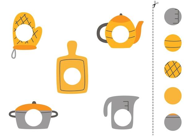 Corte e cole peças de utensílios de cozinha. jogo lógico educativo para crianças. jogo de correspondência.