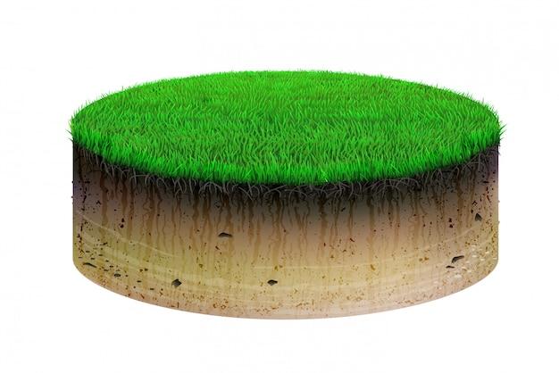 Corte e grama de solo em forma oval