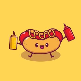 Corte o cachorro-quente segurando a mostarda e o molho ilustração do ícone dos desenhos animados. conceito de ícone de desenho animado de fast-food isolado. estilo flat cartoon