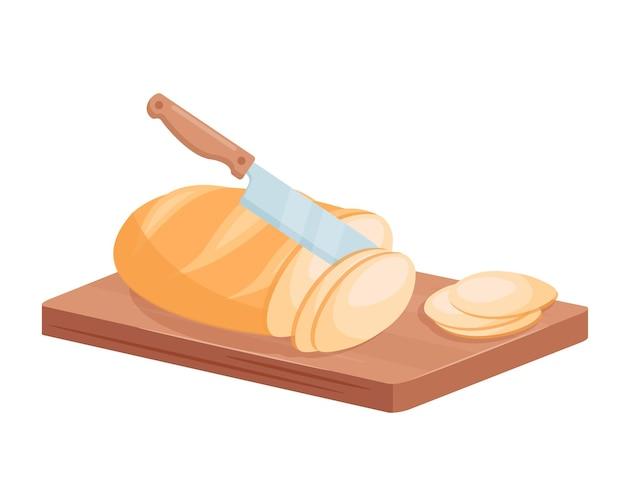 Corte o pão de trigo 3d com faca de talheres no pão do chef para o café da manhã