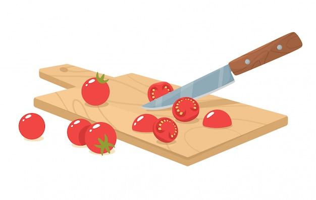 Corte os tomates cereja com uma faca. corte manual e moagem de ingredientes orgânicos. ilustração em estilo simples.