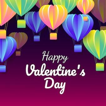Corte papel, de, valentine's day, comemore, cartão, com, coloridos, forma coração, balões ar, voando