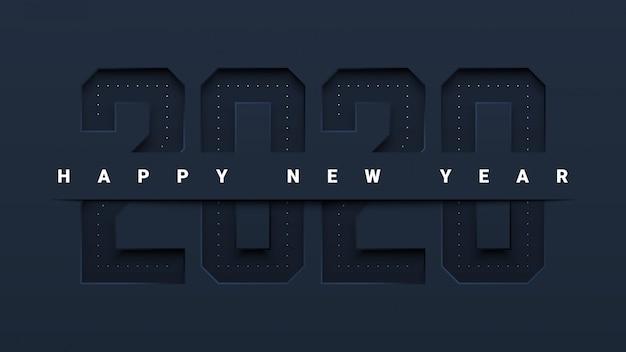 Corte papel moderno design feliz ano novo 2020 cartão comemorativo