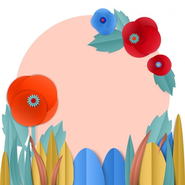 Corte papel papoula flores em grinalda
