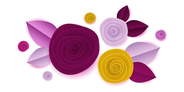 Corte papel rosa flores na vinheta