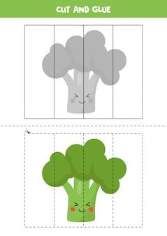 Corte uma imagem de brócolis kawaii fofos e cole-a.