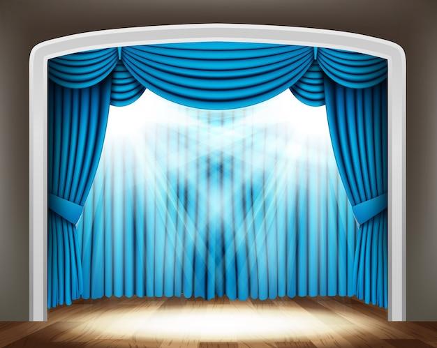 Cortina azul do teatro clássico