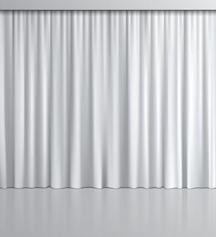 Cortina branca realista com reflexo no espelho.