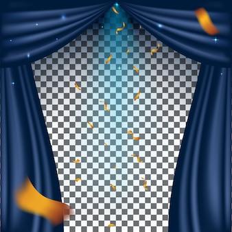 Cortina cinema theatre retro com holofote em fundo transparente