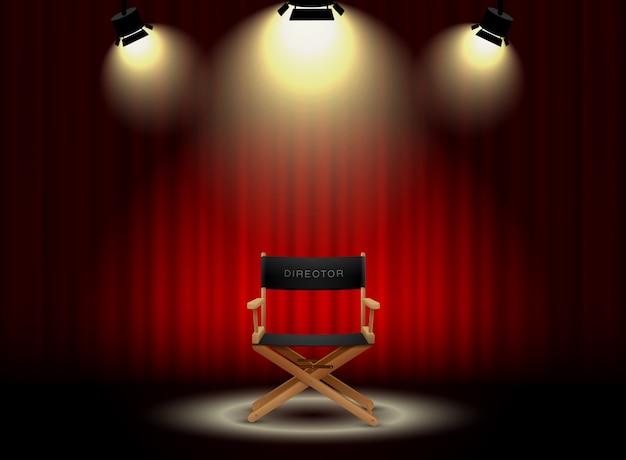 Cortina de fundo e cadeira do diretor com holofotes