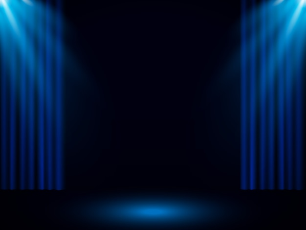 Cortina de palco azul com holofotes