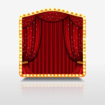 Cortina de palco no banner brilhante com ilustração de moldura dourada