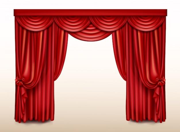Cortina de palco vermelho para teatro, cortina de cena de ópera