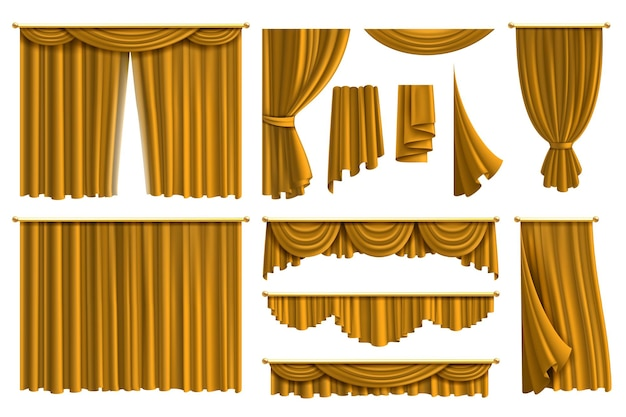 Cortina de seda de tecido de luxo para decoração de teatro ou janela