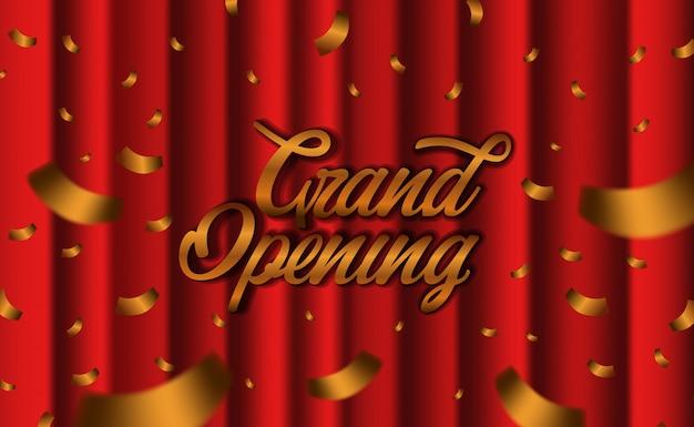 Cortina de seda vermelha de luxo de inauguração