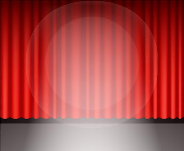 Cortina de teatro vermelho com luz