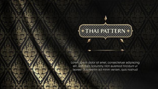 Cortina de tecido de seda rip curl realista preta e dourada com padrão thai angel