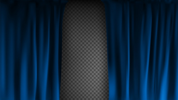 Cortina de veludo azul colorido realista dobrada sobre um fundo transparente. cortina de opção em casa no cinema. ilustração