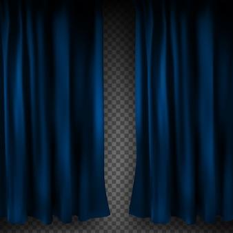 Cortina de veludo azul colorido realista dobrada sobre um fundo transparente. cortina de opção em casa no cinema. .