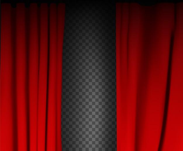Cortina de veludo vermelho colorido dobrada sobre fundo transparente