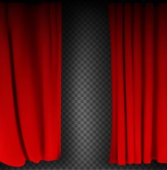 Cortina de veludo vermelho colorido realista dobrada sobre um fundo transparente. cortina de opção em casa no cinema. ilustração vetorial