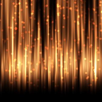 Cortina dourada com luzes de bokeh