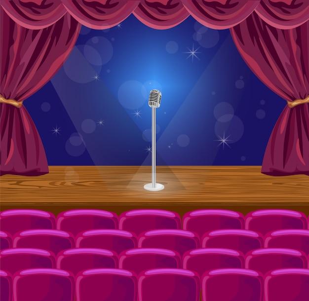 Cortina e microfone em um palco com luzes
