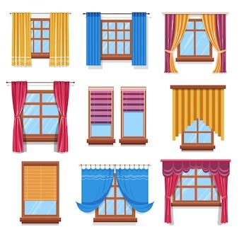 Cortina e persianas em janelas, tecidos e madeira