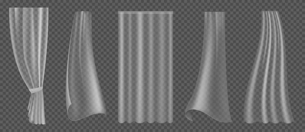 Cortina transparente. diferentes formas têxteis para decoração de janelas, cortinas de plástico esvoaçantes e cortinas onduladas de cetim ou tecido de seda isolado vetor realista 3d conjunto isolado