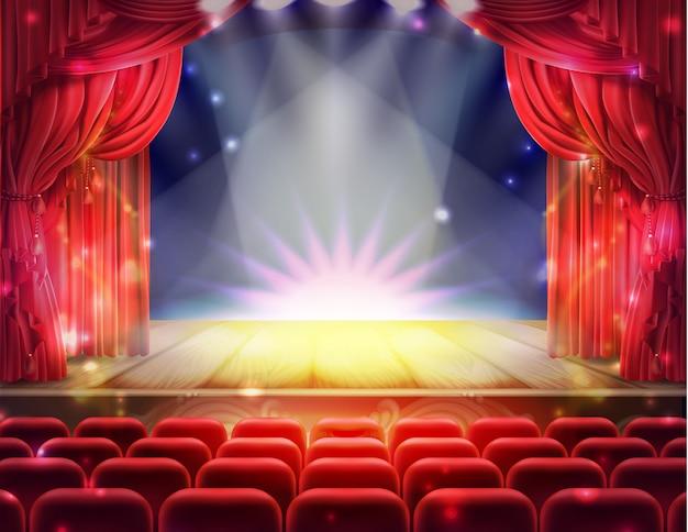 Cortina vermelha aberta e palco teatral vazio iluminado com faíscas caindo