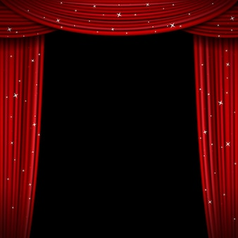 Cortina vermelha brilhante. abra o fundo de cortinas de brilho. cortina para exposição e interior do teatro, tela de estreia com cortinas