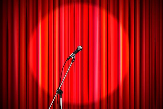 Cortina vermelha com microfone brilhante na iluminação redonda holofotes, fundo retrô de palco de teatro amplo