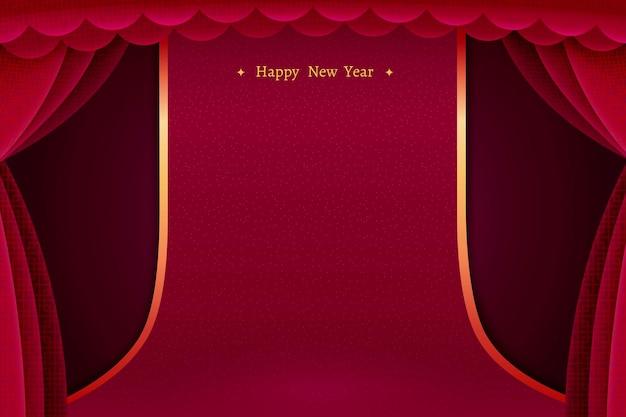 Cortina vermelha de fundo do palco